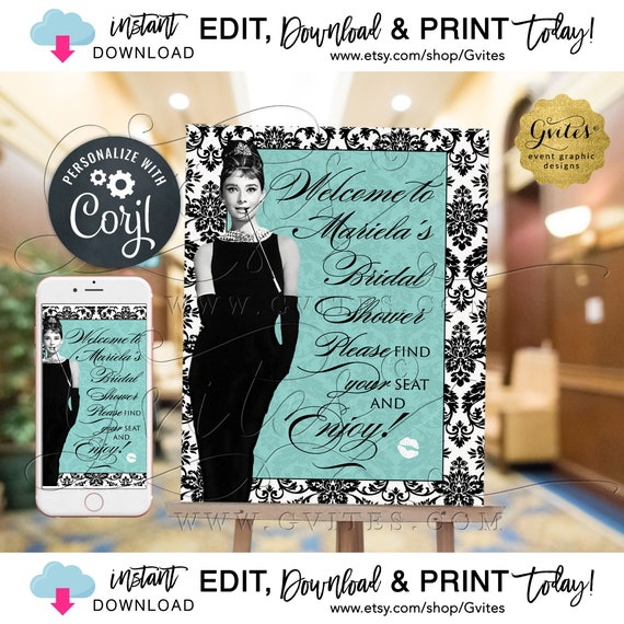 Welcome Sign Bridal Shower Breakfast Themed Poster / Audrey Hepburn Classic / Little Black Dress. Edit w/Corjl {Can print: 16x20 + 8x10}