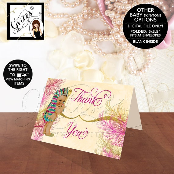 """Egyptian Baby Shower Thank You Cards Pharaoh Party Personalized Label Printable, Digital File, Pink Gold,  {5x3.5"""" 4 Per/Sheet}"""