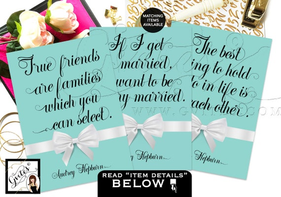 Breakfast at Bridal Shower Decor Party Quotes Audrey Hepburn Quotes Decorations/ bridal shower signs DIGITAL {5x7 or 4x6}
