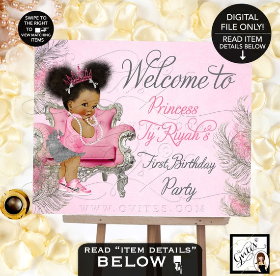 Pink and Silver Welcome Sign, First Birthday Poster Decor, Afro Puffs Princess African American 1st Birthday Party, Digital, DIY, Gvites