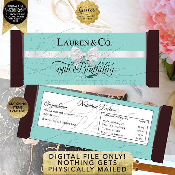 13th Candy Bar Wrappers Birthday | Personalized Party Favors Breakfast Customizable Text/ Colors & Fonts 2 Per Sheet 5.25x5.75{Satin Ribbon}