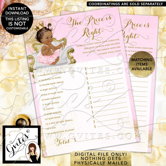 The Price is Right Pink Gold Cards Princess Baby Shower INSTANT DOWNLOAD Med/ Brunette {White/ Gold Feathers} | Design: CWCHS-104