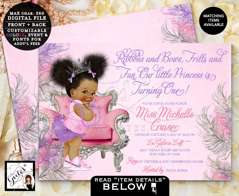 Pink and purple birthday invitations princess first birthday pink and purple birthday invitations princess first birthday african american baby girl vintage tiara bows tutus pearls 7x5 gvites filmwisefo