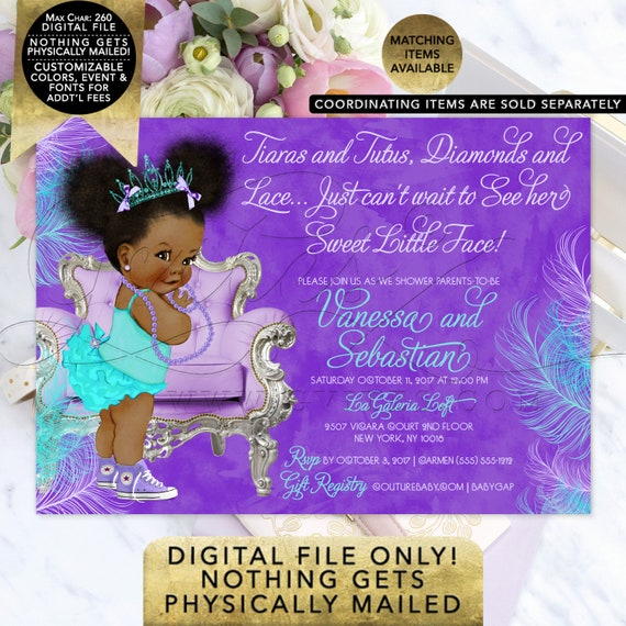 Ethnic Baby Girl Shower   Purple Turquoise Tiara Princess Baby Shower Printable Invitation   Afro Puffs African American Vintage Baby Girl