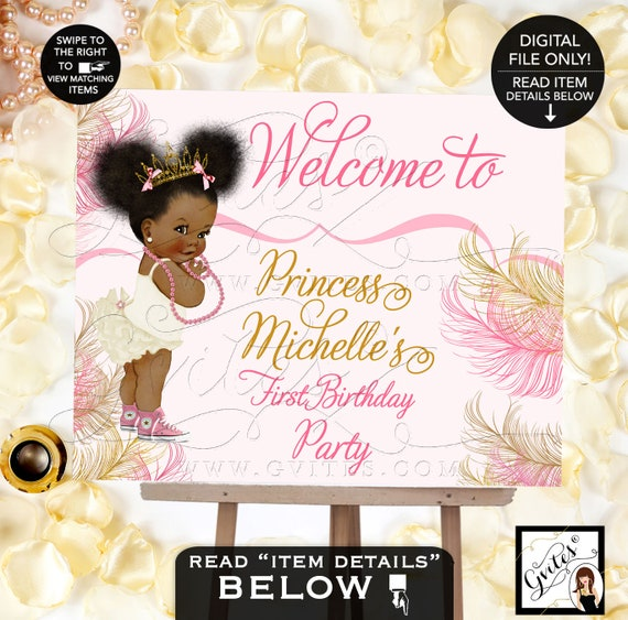 Pink and Gold First Birthday Welcome Signs/ Ethnic Baby Princess Ruffle Pants Hot Pink Sneakers Pearls Gold Crown/ African American Baby