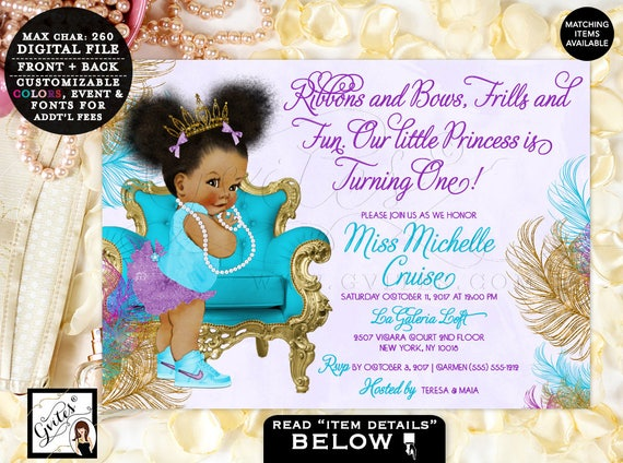 Turquoise Purple Gold Princess First Birthday Invitation African American tiara Ribbons Bows Afro Puffs | Design: TIACH-105 By Gvites