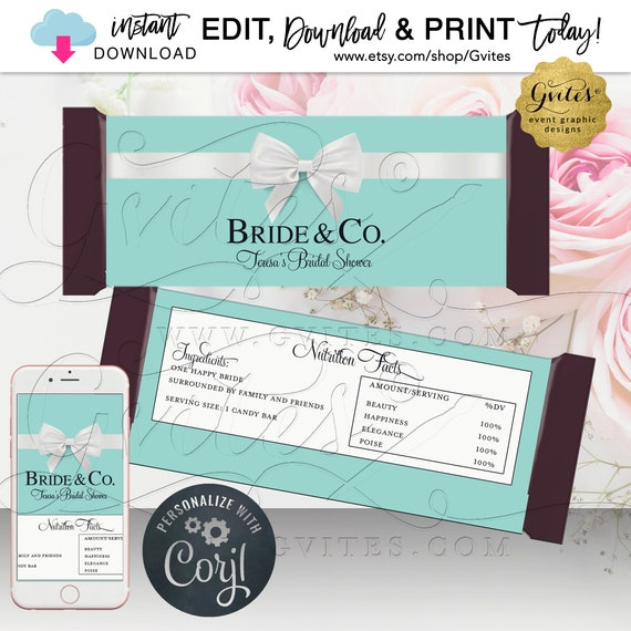 Candy Bar Wrapper Bride & Co Blue Theme. Instant Download. {5.25x5.75 Fits 1.55 oz Chocolate Bar}