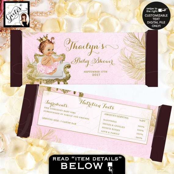 Princess Candy Bar Wrapper | Baby shower Hershey bar labels | Pink gold party decor favors sticker {Gold/ White Feathers} PRINTABLE
