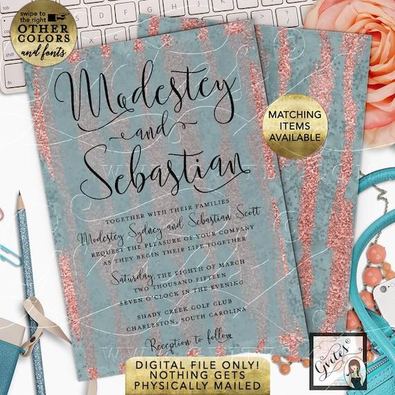 "Dusty Blue and Peach Rose Gold Wedding Invitation | Elegant Bridal Printable Invites. 5x7"""