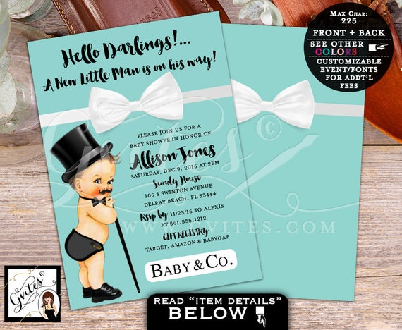 Little Man Baby Shower Breakfast at Co / Cute Vintage Baby Black Cane Top Hat Mustache / Charlie Chaplin White Ribbon