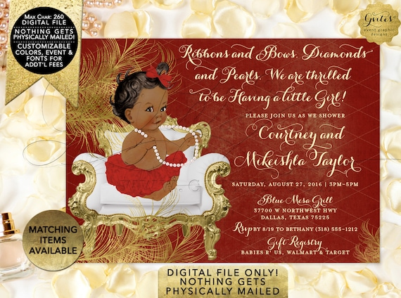 "Red and Gold Baby shower invitations African American ribbons bows diamonds pearls/ vintage girl tutu invite digital. 7x5"" {Gold Feathers}"
