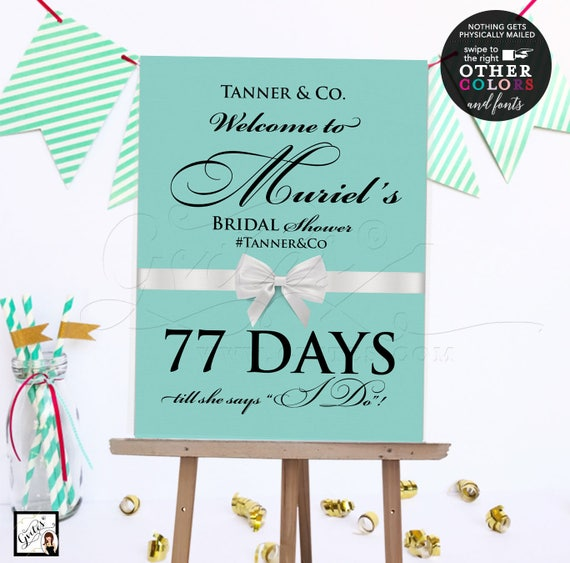 Countdown Welcome bridal shower sign/ bride and co/ printable digital poster signs/ breakfast at themed. {Customizable NAME/ hashtag & DAYS}