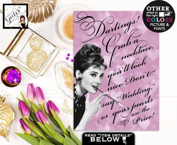 Don't say wedding Audrey Hepburn pearl necklace game/ breakfast at bridal shower games/ purple lavender Audrey. 4x6 or 5x7 DIGITAL FILE