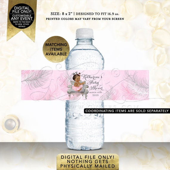 Pink & Silver Water Bottle Labels baby shower African American princess ribbons bows diamonds | JPG + PDF {Design: CWCHS-103} By Gvites