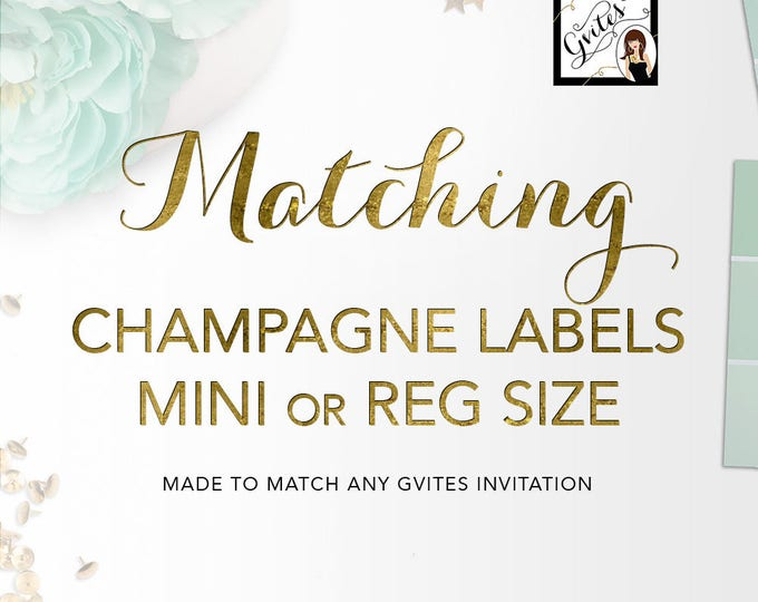 Matching Champagne Labels Add-on - To Coordinate with any Gvites invitation design.