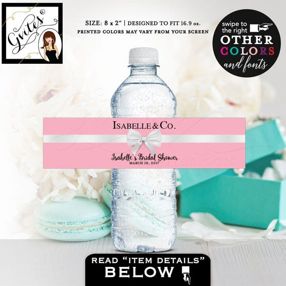 "Bride and Co Water Bottle Labels in Pink - Audrey Hepburn Bridal Shower Theme Printable 8x2""/ 5 Per Sheet by Gvites"