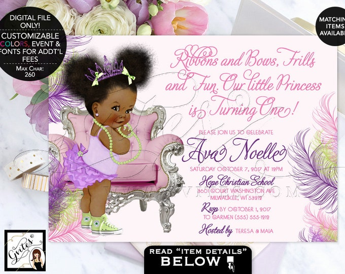 "First Birthday Invitation Purple pink and lime green baby shower, tutus tiaras, lavender afro puffs, tiara, princess. 7x5"" Gvites."