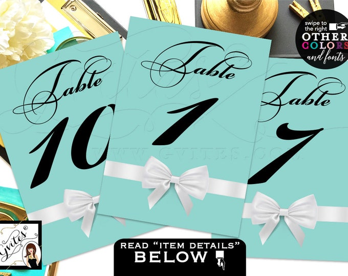 """Breakfast at Party Printable Table Numbers, Customizable Colors and Fonts, Digital File {Table Numbers 1-10} {4x6"""" or 5x7""""}"""