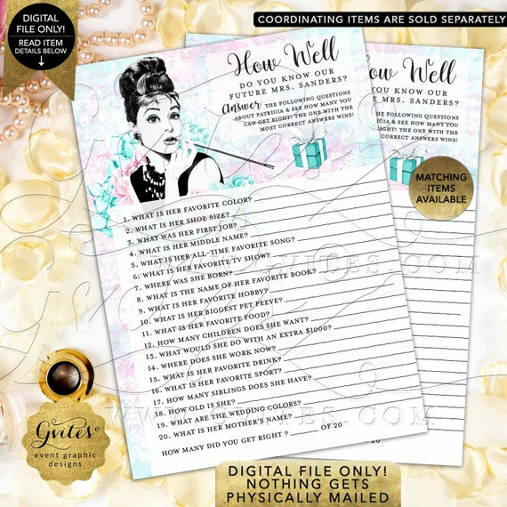 """How Well Do You Know The Bride/ blue themed Audrey Hepburn party printable bridal shower games/ PERSONALIZED NAME 5x7"""" 2 Per Sheet."""