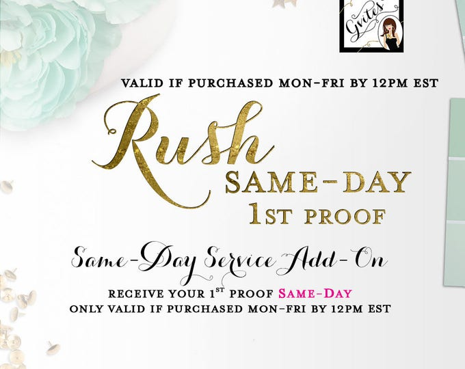 Same-Day Rush! ONLY Valid if purchased Monday-Friday by 12pm NOON EST. This will jump your order to the front of the line!