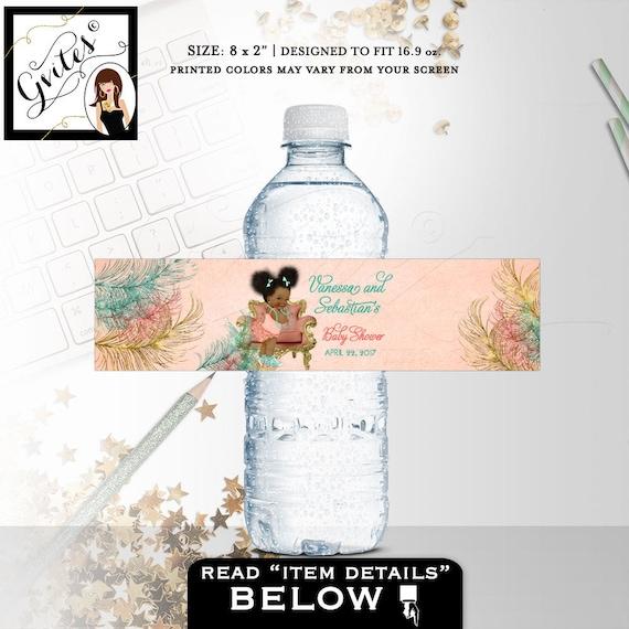 Coral Water Bottle Labels/ Coral Mint Green & Gold Printable water bottle labels Vintage baby shower/ Ethnic Baby Bottle Labels