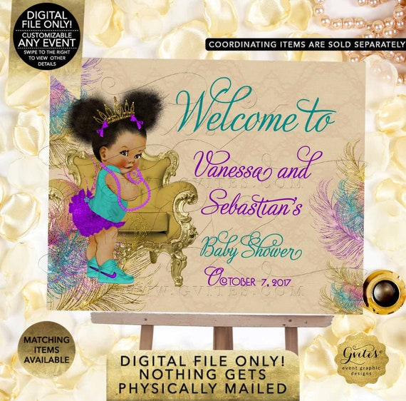 Welcome Baby Shower Poster Signs Teal Purple and Gold/ Afro Puffs Princess Gold Tiara/ Peacock Beige/ Printable. Digital File Only!