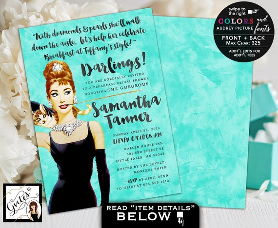 Breakfast Bridal Shower Invitations / Blue Full Color Audrey Hepburn Custom Printable Invites /  Audrey wedding shower lingerie cards
