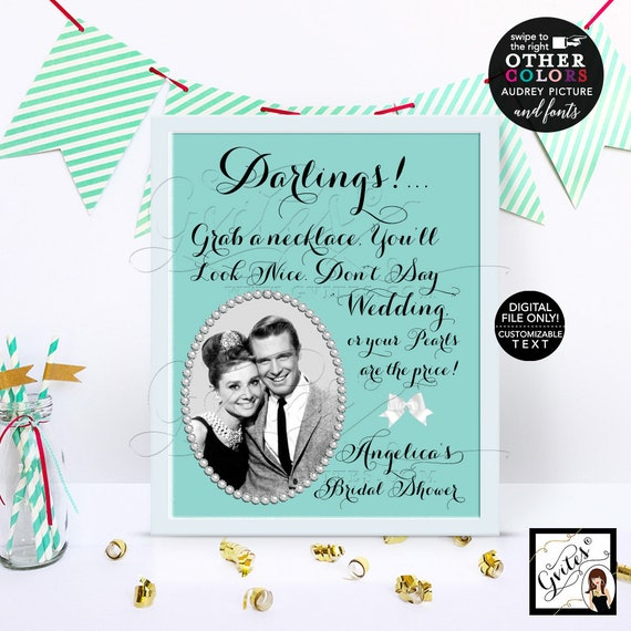 Don't Say Wedding Bridal Shower Game Printable, DIY, Digital File Only! 8x10