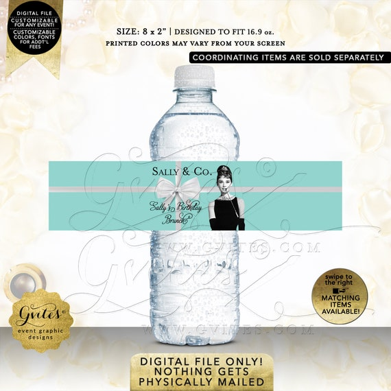 Water Bottle Labels Birthday Brunch| Audrey Hepburn Breakfast Party Themed Party Favors | Decorations | Printable JPG + PDF
