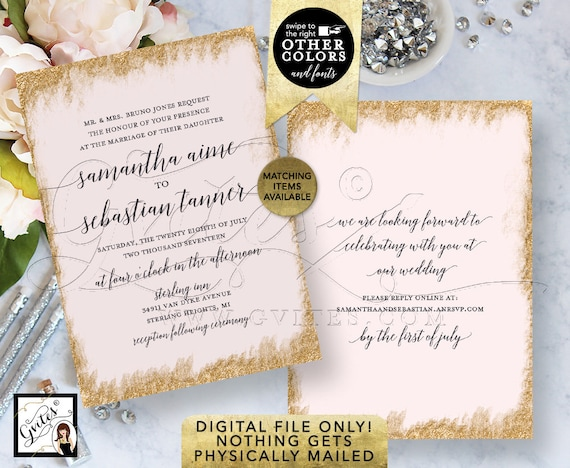 "Pink & Gold Glitter Wedding Invitations Printable Template | Digital Invitation Bridal | Modern Calligraphy Font Invites 5x7"" Double Sided."