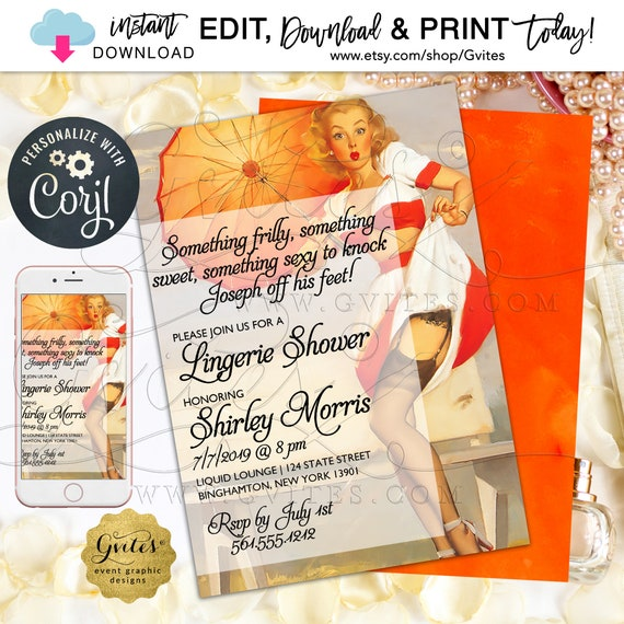 "Lingerie Shower Invitation Pin Up Girl | 1950's Something Frilly Something Sweet. Editable Template | Instant Download 5x7"" Double Sided"