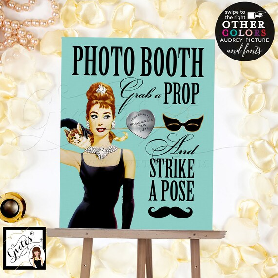 Audrey Hepburn Party Themed Photo Booth Sign | Digital PDF + JPG by Gvites