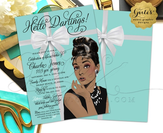 100th Birthday Invitation/Audrey Hepburn Celebration of Life Birthday 100/ 103 Years Young African American Printable