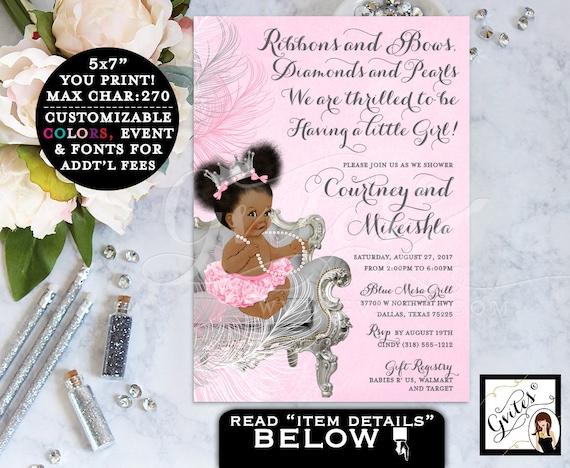 Princess Ruffle Pants Pink & Silver Crown Tutu / African American Baby Girl Puffs Bun Pearl Necklace Diamonds / ethnic baby invitations