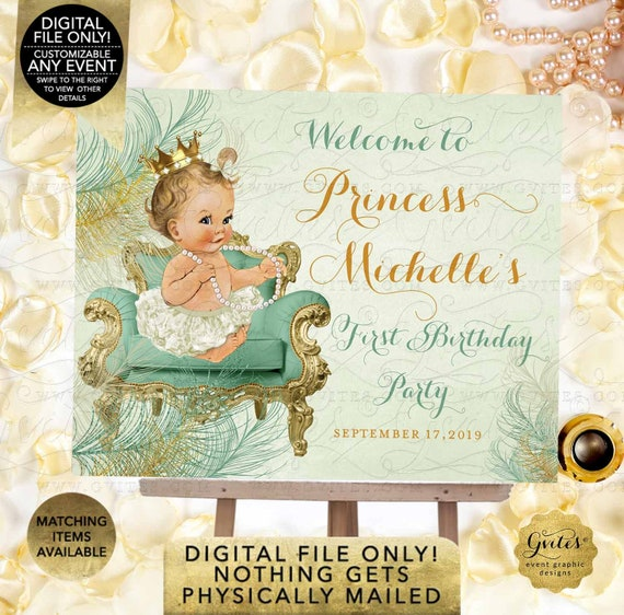 Birthday Mint and Gold Welcome Sign | JPG + PDF | By Gvites
