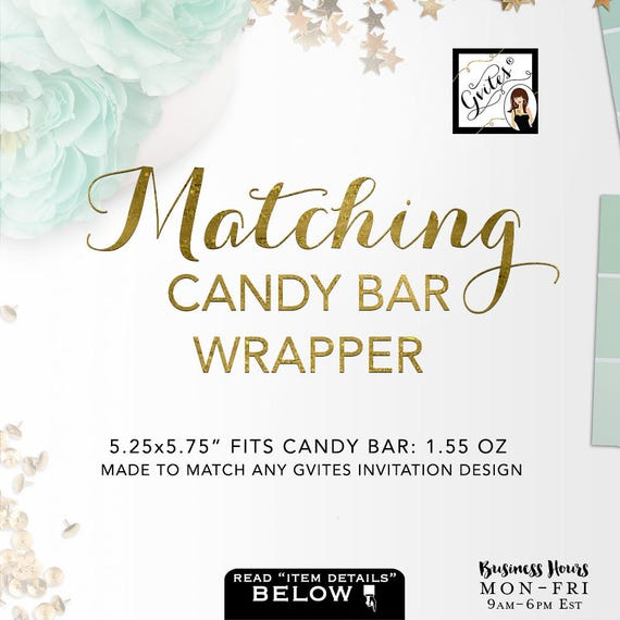 Candy Bar Wrapper Labels (1.55 Oz Hershey Bar) Add-on: Coordinate with any Gvites invitation design / Pink Gold Blue Silver