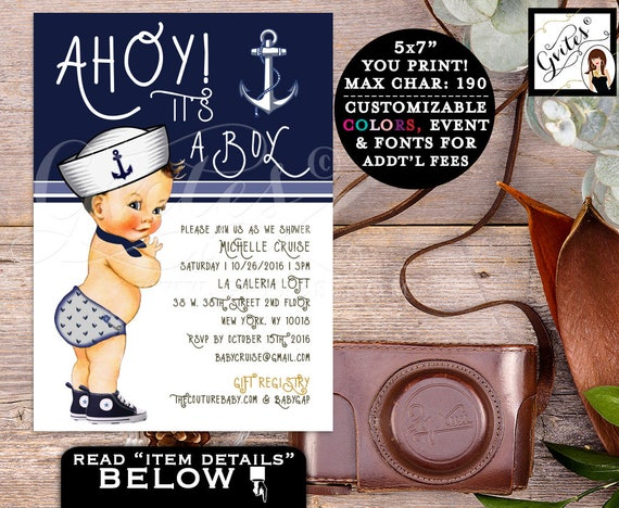 "Nautical Baby Shower Boy Invitation/ Little sailor/ ahoy it's a boy/ navy blue invites. 5x7"" Gvites"