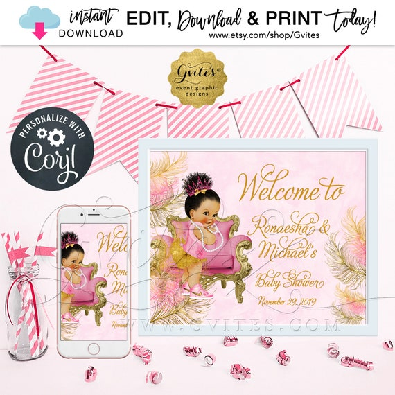 "Pink Gold Welcome Sign/ Afro Puffs Princess Decorations Baby Shower Baby Girl/ African American Poster {Size(s): 14x11"" & 10x8""}"