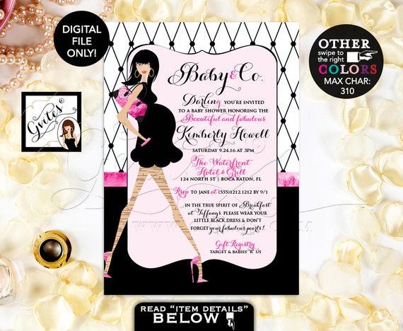 "Pink and Black Baby Shower Invitations, Paris Fashion Designer, Elegant Printable Invites, 5x7"""