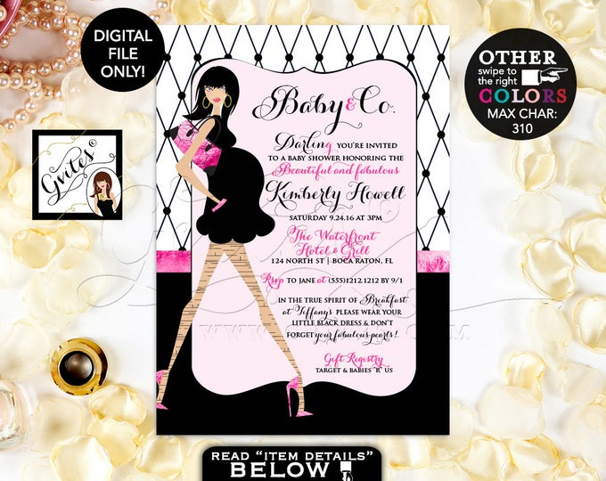 Baby and co Baby Shower Invitation, Paris baby shower invitations, breakfast at invites, pink black white, 5x7, printable, fashion Gvites