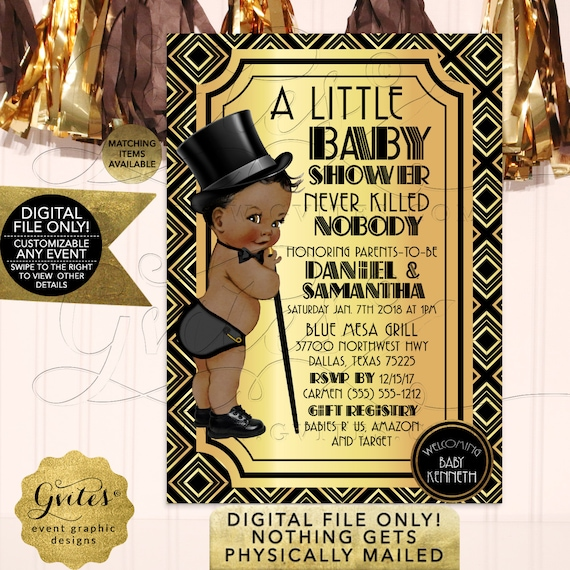 Great Gatsby Baby Shower | Art Deco/ Black Gold/ 1920's Vintage Theme African American Prince Boy | Printable JPG + PDF
