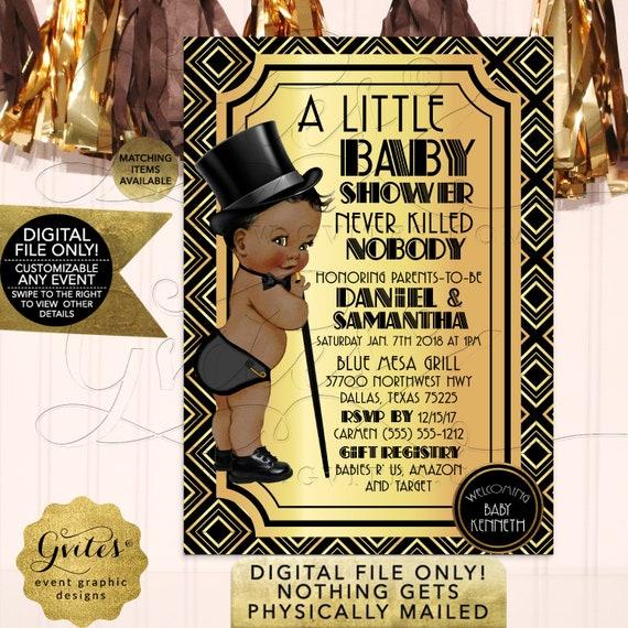 Great Gatsby Baby Shower | Art Deco/Black Gold/1920s Vintage Theme African American Prince Boy | Printable JPG + PDF