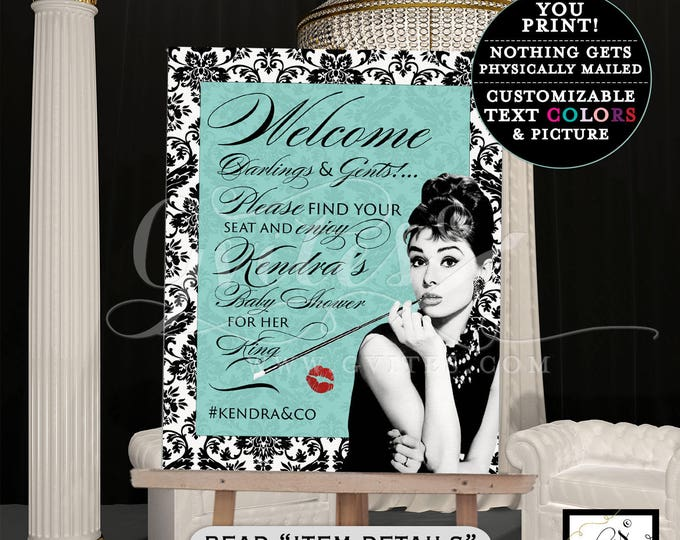 Audrey Hepburn find your seat sign, WELCOME banner poster, BABY SHOWER damask printable breakfast baby Customizable Colors/Text & Picture.