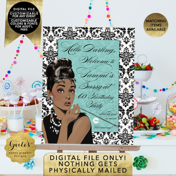Audrey Hepburn Welcome Birthday Party Signs/ Personalized Posters Digital/ Printable/ African American Breakfast at Name Co.
