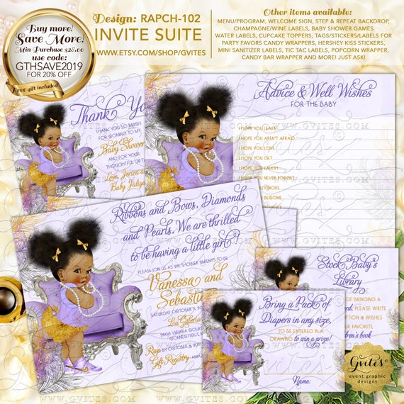 Purple Silver & Gold Baby Shower Party Printables | Design: RAPCH-102 By Gvites