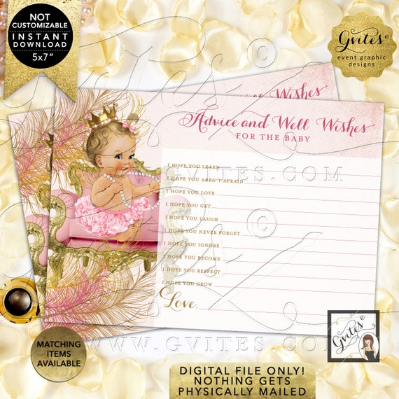 "Advice Well Wishes For Baby Blush Pink Gold | Light/Blonde Girl Instant Download JPG + PDF 7x5"" 2/Per Sheet Design: CWCHS-101 By Gvites"