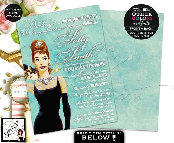 "Audrey Hepburn Champagne Bridal Shower Invitation, Double Sided, DIY, Printable, 5x7"""