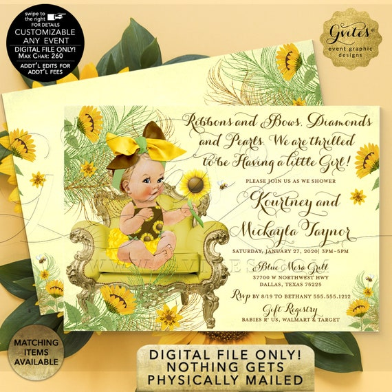 "Sunflower Baby Shower Printable Invitation. Vintage Floral Theme. Yellow Gold Green Bumble Bee. 7x5"" Double Sided. Digital File Only!"