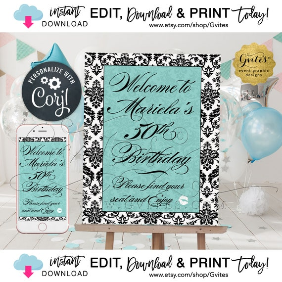 "50th Birthday Party Welcome Sign Poster Blue Theme. Audrey Hepburn Party Signs  Breakfast at Decor. Edit w/Corjl {Can print: 8x10"" & 16x20""}"