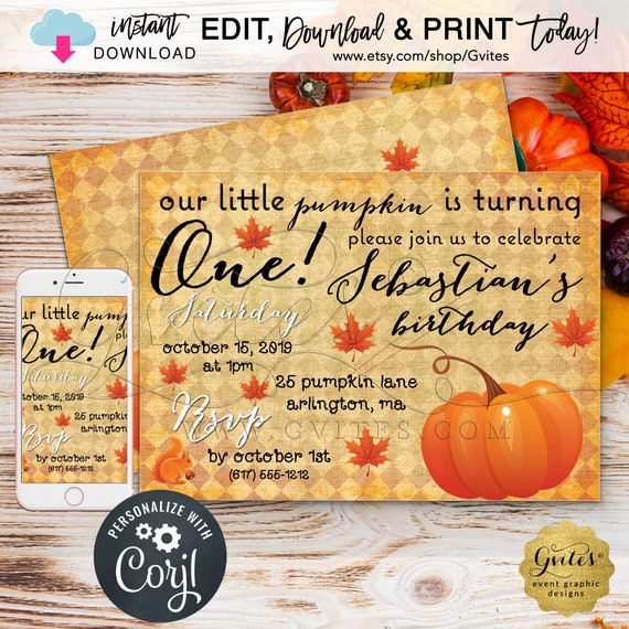 Our little pumpkin is turning one birthday invitation | First bday boy invites/digital file/fall invitations.